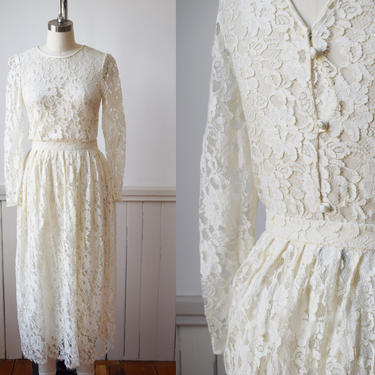 1980s Lace Dress Set by Albert Nipon | XXS/XS | Vintage Off-White Lace Blouse with Button Back and Skirt by wemcgee