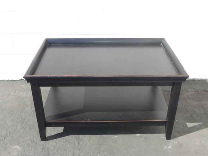Distressed Black Asian Oriental Modern Tray Two Tier Coffee Table by VintageLAfurniture