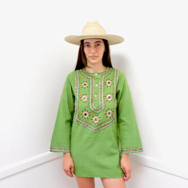 Indian Sage Tunic // vintage 70s hand embroidered dress blouse boho hippie hippy 1970s woven cotton dress green // S/M by FenixVintage