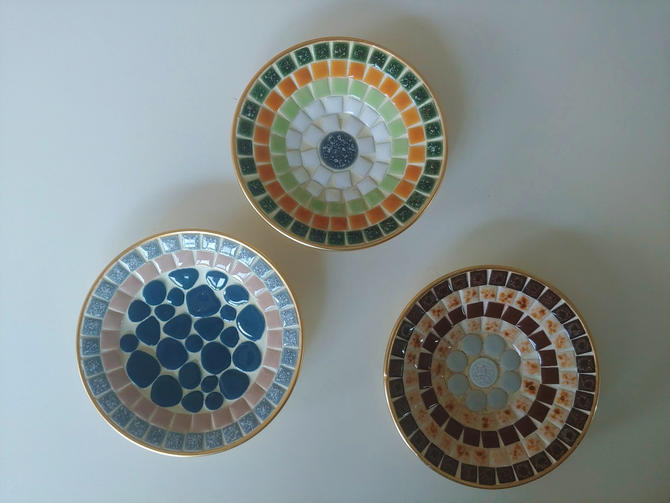 1960's Modern Mosaic Tile Dishes - Set of 3 by ModandOzzie