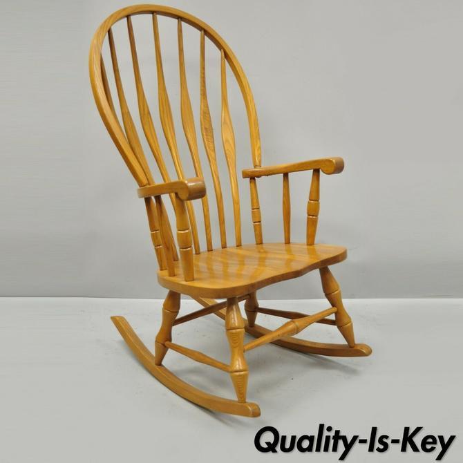 Vintage Oskar Huber Oak Wood Mid Century Modern Style Rocking Chair, USA