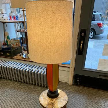 Vintage Mid Century Lamp with Orange & Amber Base