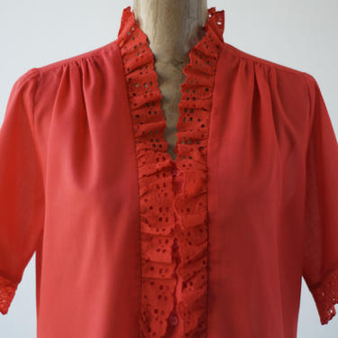 60s Vintage PRAIRIE HIGH NECK Ruffled Lace Collar Blouse by Carefree Fashions, Short Sleeves Eyelet Lace Cuffs, Button Down Shirt Ruched Red by MOBIUSMOD