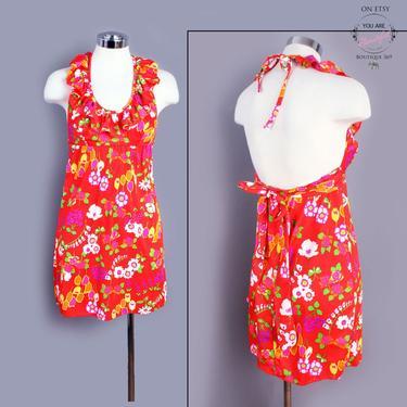 60's Floral Designer Mini Dress, Vintage, Red, 1960's Summer Sun Dress, Small, Backless Halter Dress, Mod, GoGo, Hippie, Boho by Boutique369