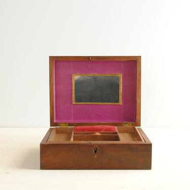 Vintage Wood Jewelry Box with Removable Tray and Mirror, Wooden Jewelry Box by LittleDogVintage
