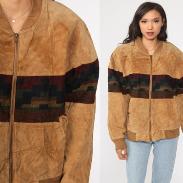 Suede Leather Jacket 80s Brown Southwestern Aztec Print Bomber Coat 80s Hippie Boho Tribal Southwest Jacket Vintage Bohemian Large L by ShopExile