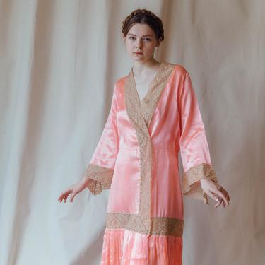 RARE 1920s Oppenheim collins bright pink silk lace robe ooak antique lingerie by DevoreVintage