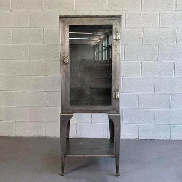 Industrial Brushed Steel Apothecary Display Cabinet