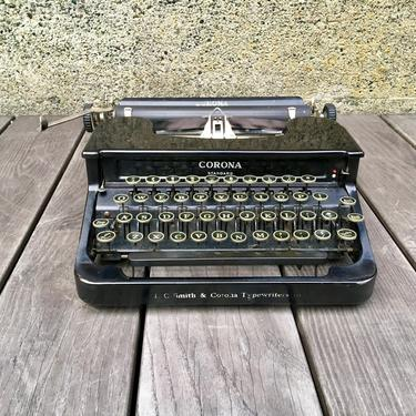 1936 Corona Standard Portable Typewriter with Case, Owners Manual, LC Smith & Corona by Deco2Go