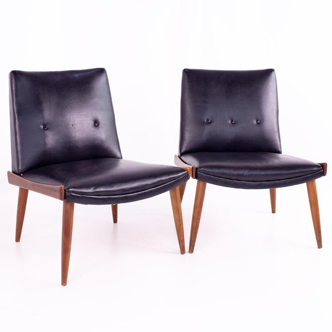 Paul McCobb Style Kroehler Mid Century Black Vinyl and Walnut Slipper Chairs - pair - mcm by ModernHill