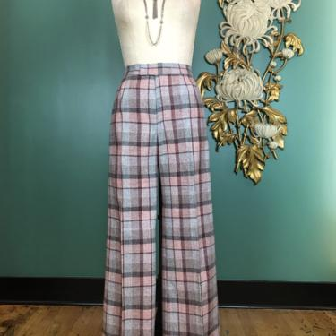 1970s pants, wool plaid, vintage 70s pants, high waist, wide leg, the limited, pink and gray, secretary style, 27 28 waist, 70s trousers, m by BlackLabelVintageWA