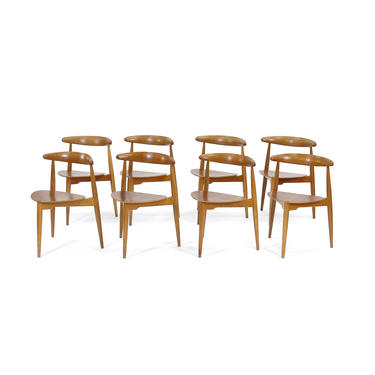 Set of 8 Hans Wegner for Fritz Hansen Heart Dining Chairs. 1960s. Free Shipping by maleforsphx