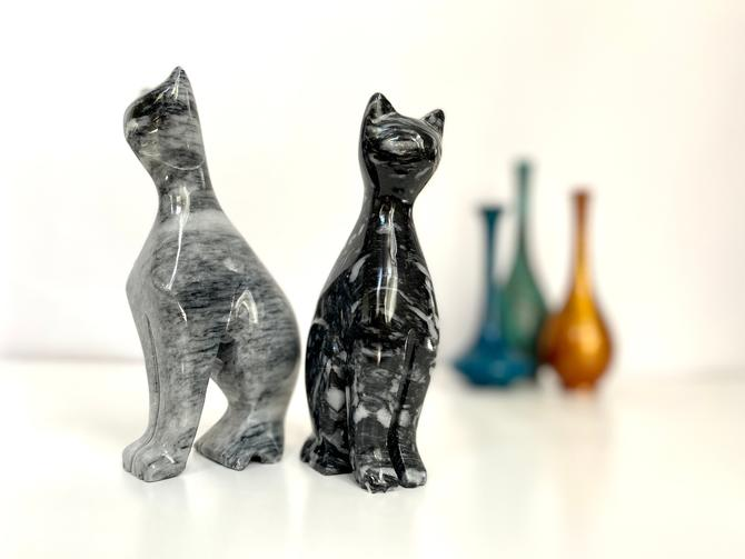 Vintage MCM Carved Solid Stone Cats | Carved Marble Cats by TheBrassFig