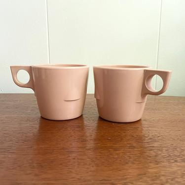 Set of 2- Vintage Melamine Stackable Mugs - Dallasware Melmac Cups Pink Tea Cups, MCM Retro Kitchen Picnic by BlackcurrantPreserve