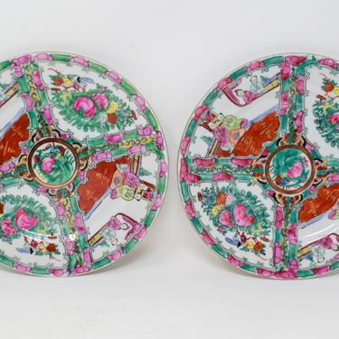 Pair of Vintage Rose Medallion Plates by CapitolVintageCharm