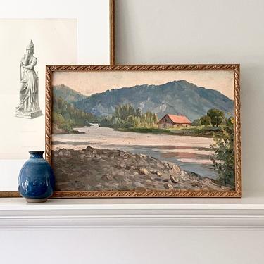 Vintage Landscape Oil Painting European En Plein River Scene by ModRendition