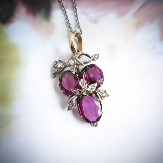 Antique Amethyst Diamond Pendant Circa 1890's 3.23ct t.w. Rose Cut Diamond Victorian Necklace Gift 14k Gold Silver by YourJewelryFinder