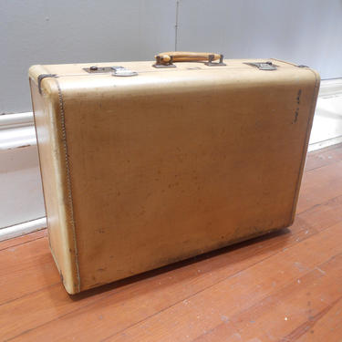 Vintage Suitcase Hard Shell Retro Travel Luggage Cream Ivory Beige Monogrammed Suitcase Antique Photo Prop Leather Trim by kissmyattvintage