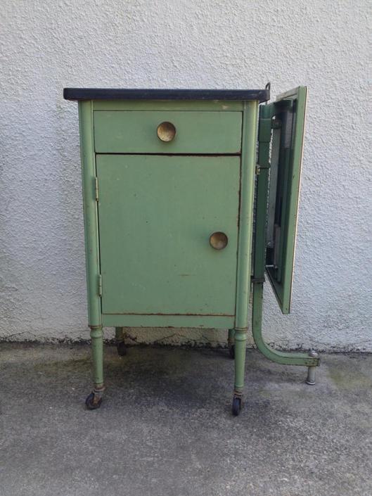 Vintage Medical Exam Metal Cabinet W Pop Up Shelf By