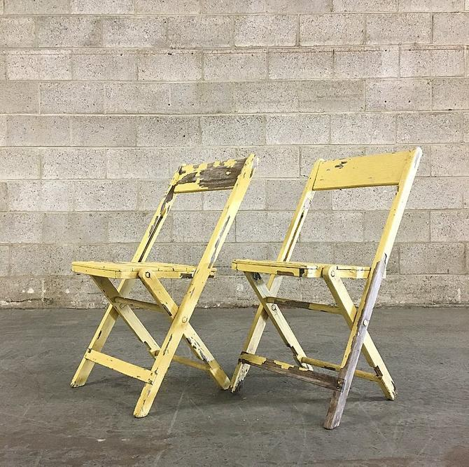 Fabulous Local Pickup Only Vintage Folding Chairs Retro 1960S Set Of 2 Matching Naturally Distressed Yellow Painted Wood Indoor Outdoor Chairs By Download Free Architecture Designs Crovemadebymaigaardcom