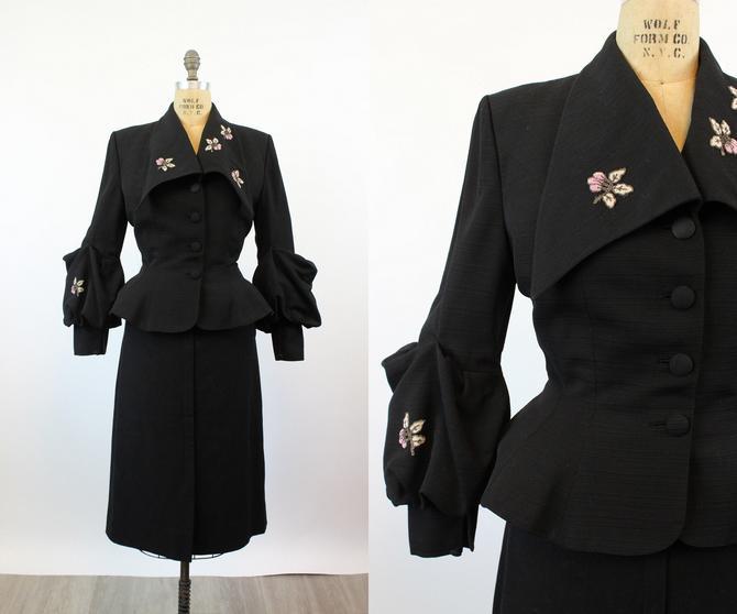 1950s Lilli Ann HUGE SLEEVES beaded jacket medium | new fall by CrushVintage