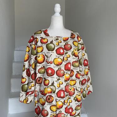 1980s Collectible Gianna Rose Deadstock Unworn OSFA Utility Coat Novelty Print Apples Vintage by AmalgamatedShop