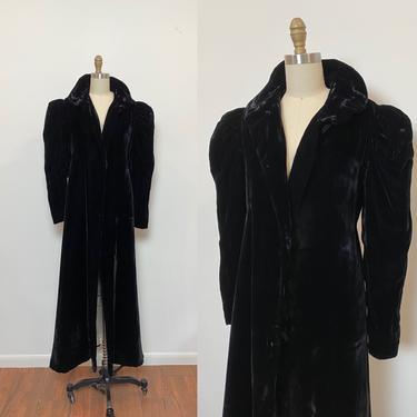 Vintage 1930s Velvet Opera Coat FOGA Puffed Sleeve Floor Length Evening Coat by littlestarsvintage