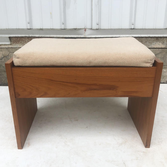Vintage Modern Teak Vanity Stool by secondhandstory