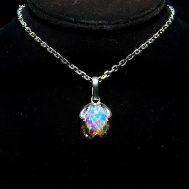 """Vintage Sterling Silver Harlequin Opal Foil Glass Pendant, Colorful Iridescent Glass, Scalloped Silver Setting, Stamped RF 925, 1 1/2"""" L by shopGoodsVintage"""