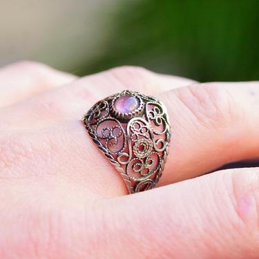 Vintage Art Deco Silver Amethyst Filigree Dome Ring, Intricate Silver Wire Designs, Ornate Dome Ring, 5mm Purple Gemstone, Size 8 3/4 US by shopGoodsVintage