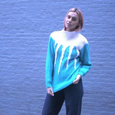 Turquoise and White Turtleneck Sweater | Medium Wool Jumper | 80s Nordic | Wool | Christmas Sweater | Funky Sweater | Holiday Sweater | by HamletsVintage