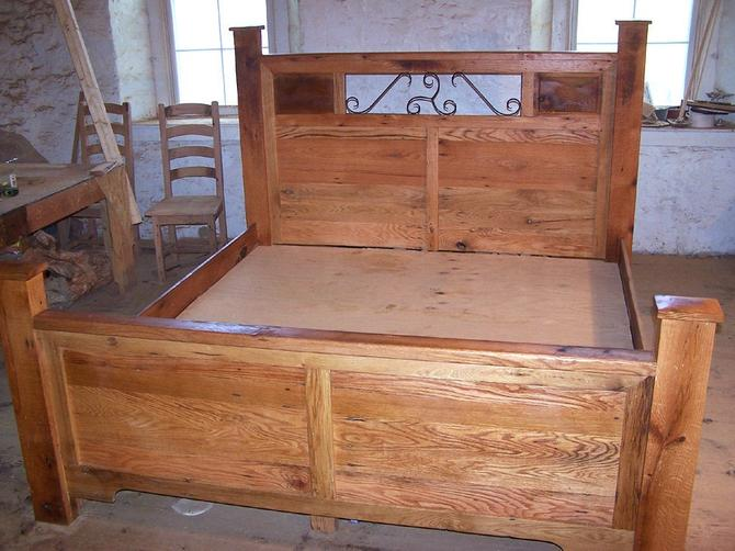 Craftsman Style Platform Storage Bed From Reclaimed Wood and Hand Forged Wrought Iron Accents by StrongOaksWoodshop