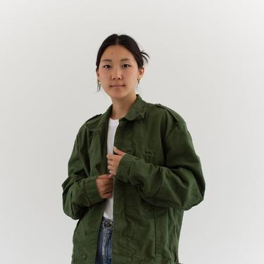 Vintage Green Denim Moto Coat   Unisex Swedish 70s Jacket   L XL   by RAWSONSTUDIO