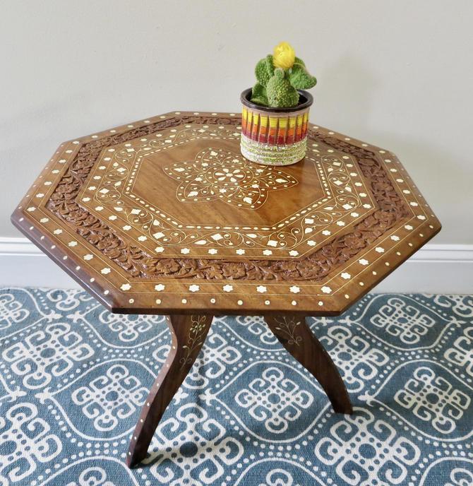 Vintage Hand Carved Teak Table - Octagon Top - Tripod Folding Base - Bohemian Decor - Boho Decor - Indian by SoulfulVintage
