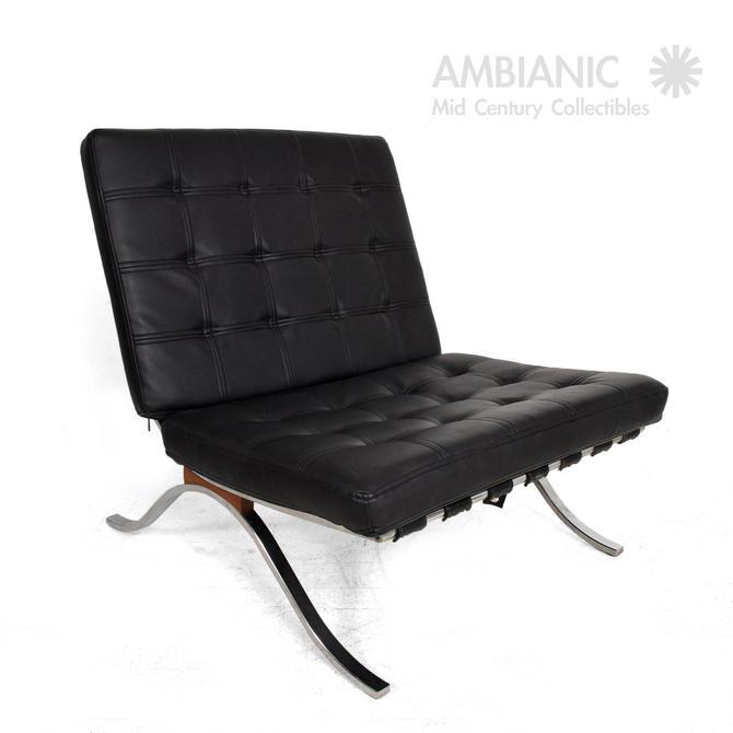 Mid-Century Modern Selig Barcelona Chair Chrome and Naugahyde by AMBIANIC