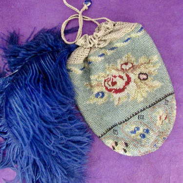 FOR BEADING Victorian 1800s to Early 1900s Beaded Crochet Reticule   Antique Blue Floral Rose Bag   Small Vintage Purse / Drawstring Handbag by lovestreetsf