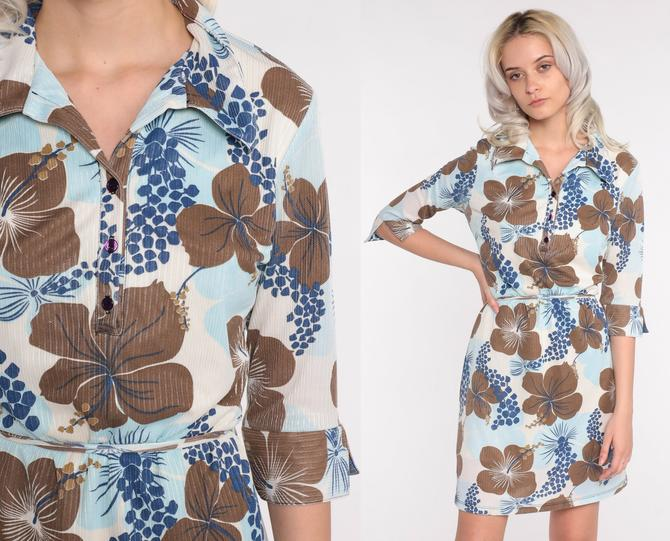 Y2K Mini Dress 90s Floral Print Shirtdress Blue Brown Button Up Dress Rusty 00s 3/4 Sleeve Vintage Collared Shift Medium by ShopExile