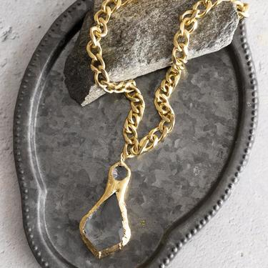 18k Gold Plated Crystal and Chain Lucia Necklace