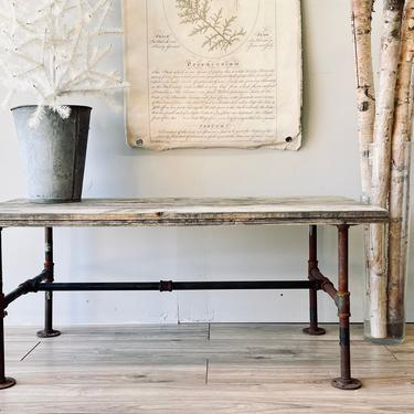 Rustic Wood + Iron Coffee Table   Low Plant Stand Table   Rustic Bench   Wood Planks   Farm Table   Outdoors   Garden   Weathered Reclaimed by PiccadillyPrairie