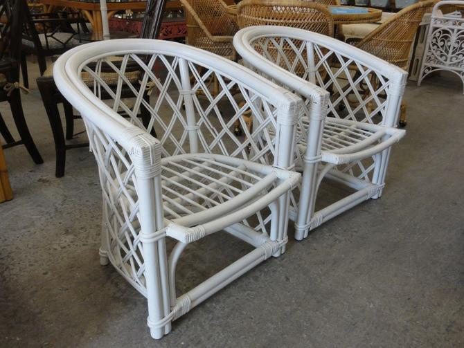 Pair of Ficks Reed Rattan Occasional Chairs