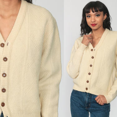 Cream Wool Cardigan Cable Knit Sweater 70s Boho Cream Bohemian Fisherman Chunky Grandpa Vintage 80s Button Up Cableknit Small by ShopExile