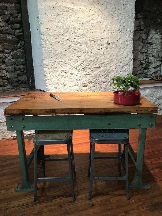 industrial kitchen Island butcher block kitchen island antique industrial work table by VintaDelphia