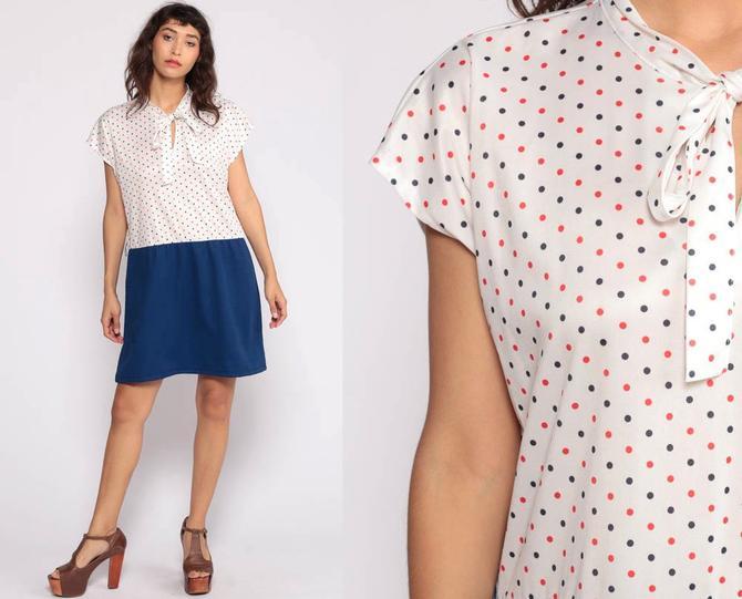 Ascot Dress XL -- 70s Mini Plus Size Necktie Secretary Mod Polka Dot Dress  Shift Bohemian Bow Vintage Dark Blue Cap Sleeve Extra Large xxl by ...