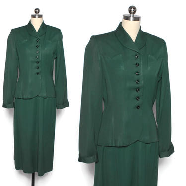 Vintage 40s Forest Green Gab Suit / 1940s Tailored Green Lightweight Wool Gabardine Blazer Jacket & Pencil Skirt Set by LuckyDryGoods