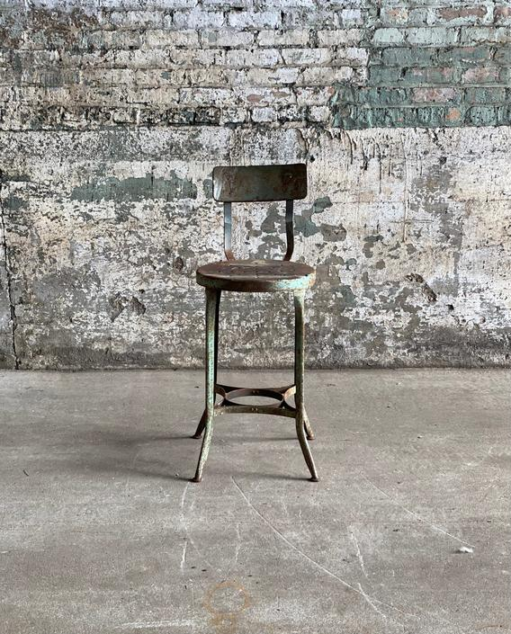 Vintage Rustic Toledo Uhl Stool Seat Industrial Seating by NorthGroveAntiques