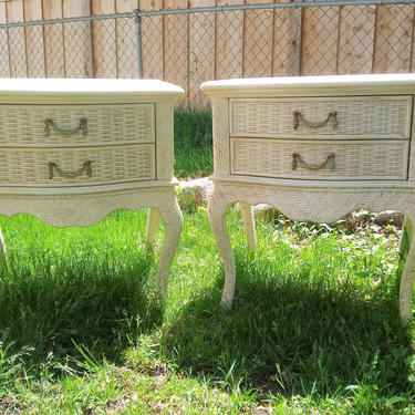 VINTAGE Bedside Tables, Wicker,  French, French Country, Shabby Chic, Large Nighstands, Pair of Nightstands by 3GirlsAntiques