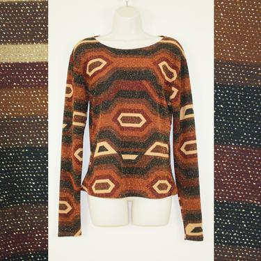 Vintage 90s Brown Geometric Glitter Stretch Top by GuavaNectarVintage