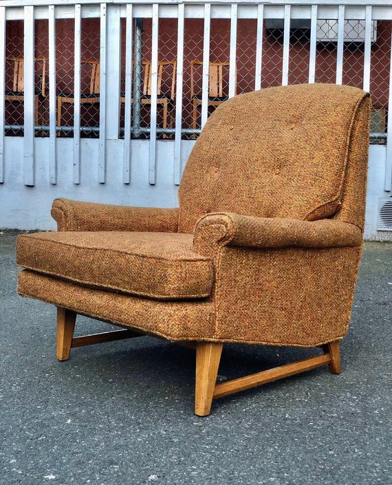 Vintage Mid Century Modern Sofa Chair by BigWhaleConsignment