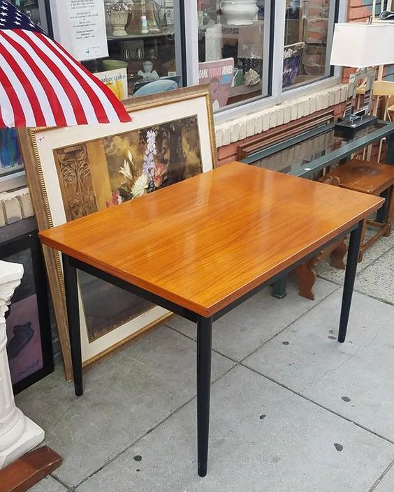 "Daymod Farstrup Drawleaf Dining Table, $673. 32""x48. Extends to 80""."
