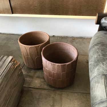 Pair Small Stoneware Planters
